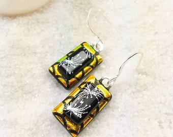 Dichroic earrings, fused glass jewelry, orange dichroic earrings, glass fusion, fused glass art, dichroic jewelry, Hana Sakura, handmade