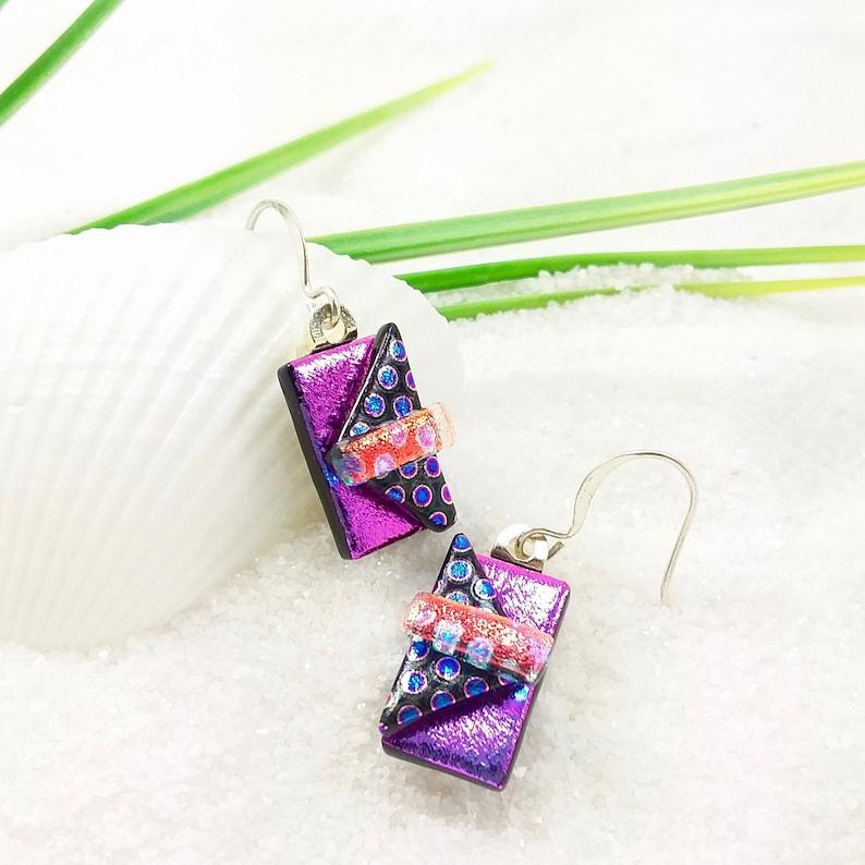 Pink dangle earrings dichroic earrings fused glass art image 0