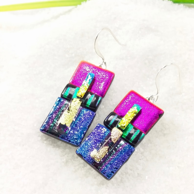 Purple dichroic earrings fused glass jewelry fused glass image 0