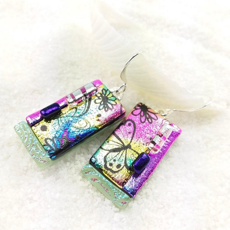 Butterfly earrings Pastel rainbow earrings dichroic glass image 0