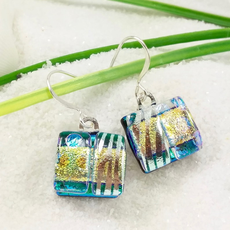 Handcrafted fused glass earrings Dichroic glass jewelry image 0