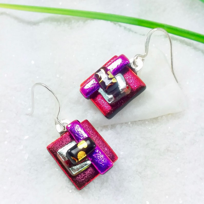 Red dichroic glass earrings glass fusion jewelry dichroic image 0