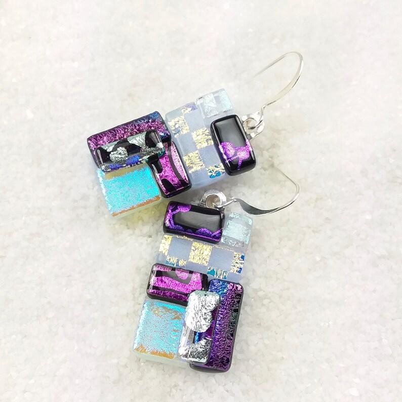 Unique Fused Glass Earrings Purple Dichroic Glass Earrings image 0