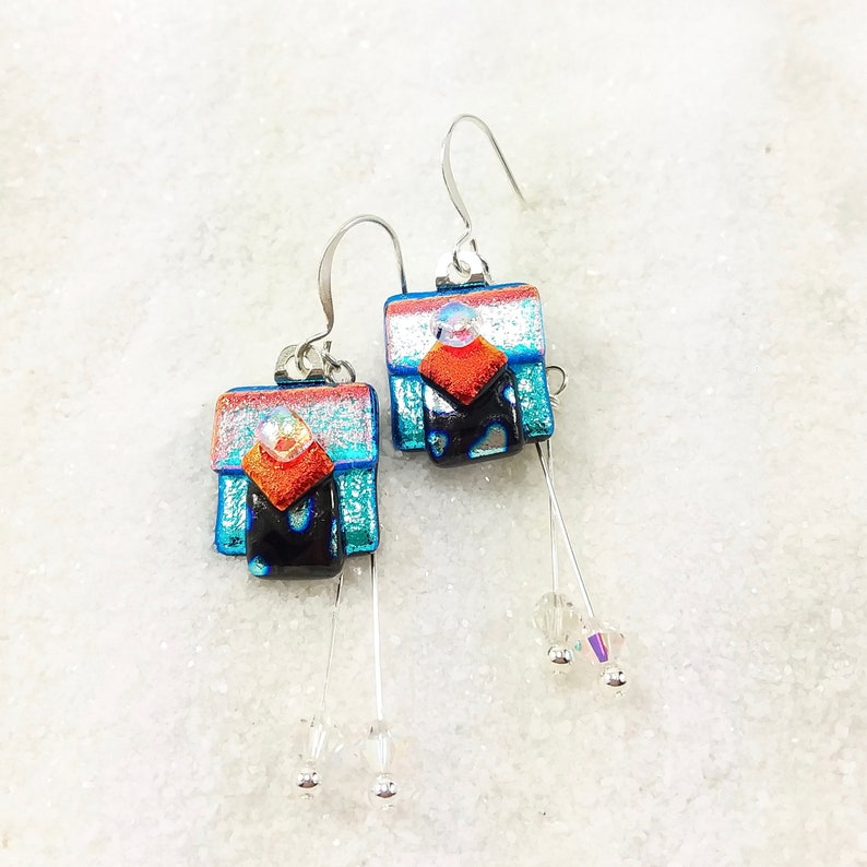 Fused dichroic glass jewelry Dichroic earrings Hana Sakura image 0