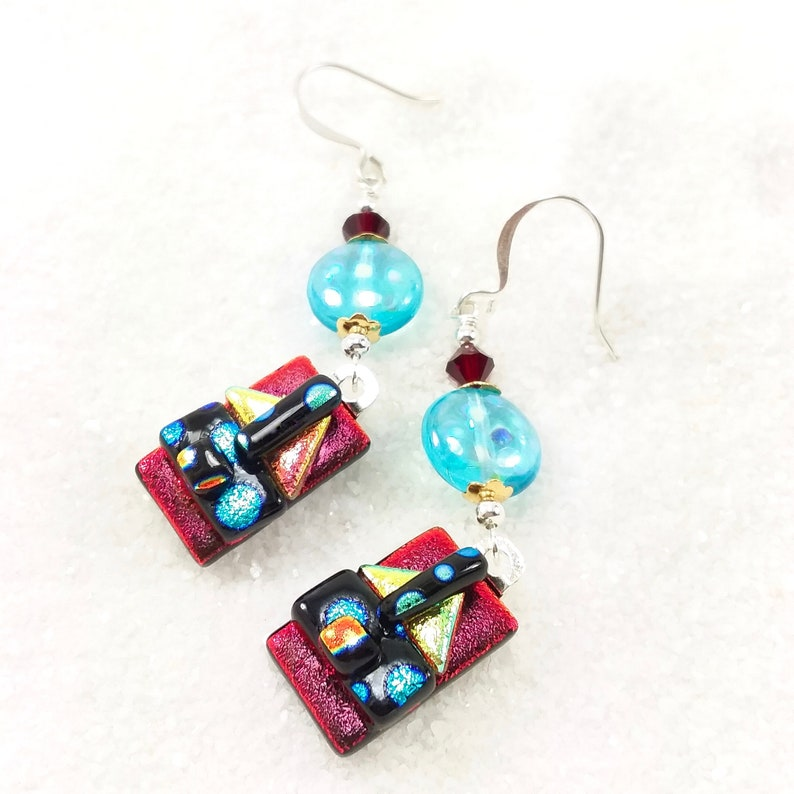 Dichroic earrings fused glass jewelry ruby red dichroic image 0