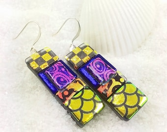 Dichroic earrings, fused glass jewelry, dichroic jewelry, fused dichroic, glass fusion, rainbow earrings, statement jewelry, dangle earrings