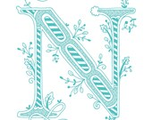 Hand Drawn Monogrammed Print 8x10 The Letter N In Color Blue