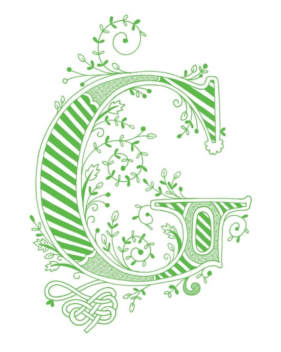 Items Similar To Hand Drawn Monogrammed Print 8x10 The Letter G In Color Green On Etsy