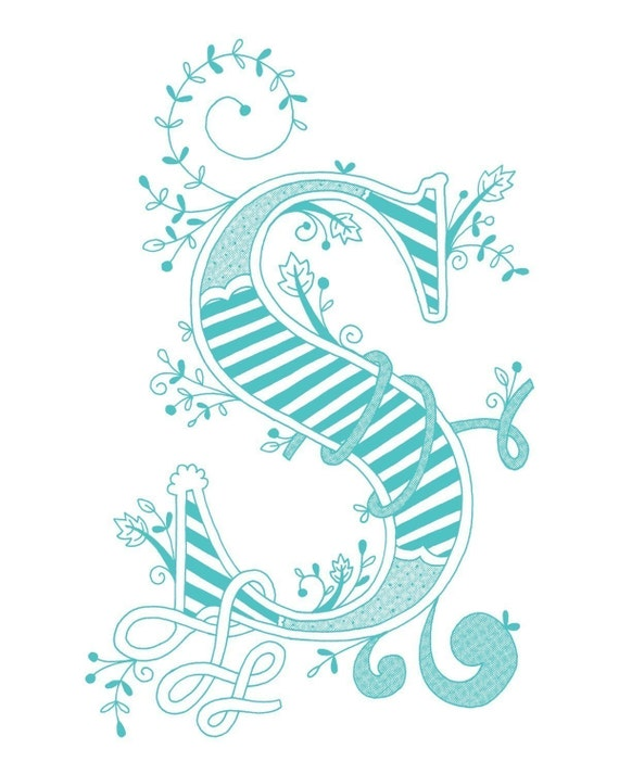 Items Similar To Hand Drawn Monogrammed Print 8x10 The Letter S In Color Blue On Etsy