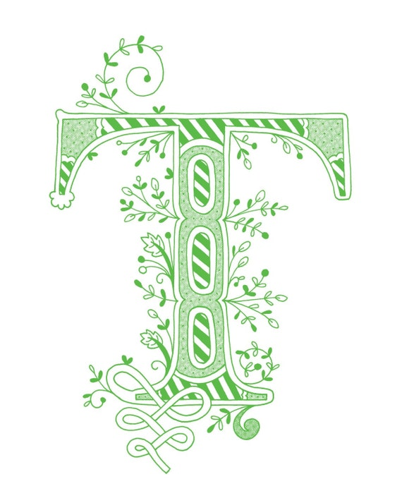 Items Similar To Hand Drawn Monogrammed Print 8x10 The Letter T In Color Green On Etsy