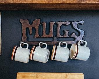 Vintage Wooden Mugs Hanger Sign