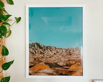 Badlands National Park Moon Vintage Inspired Desert Photo Print