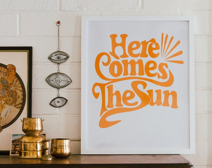 Featured listing image: Here Comes The Sun - The Beatles Lyric Poster