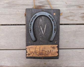 Vintage Horseshoe Wood Welcome Sign