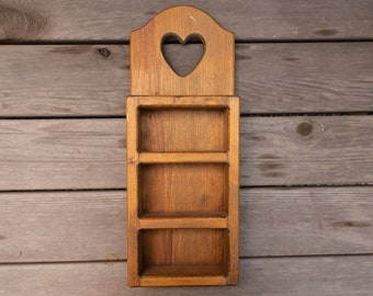 Vintage Wooden Heart Shelf