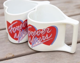 Vintage 80s Avon Forever Yours Heart Shaped Mugs - Set of 2