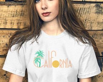 Vintage 80s Inspired California Palm Tree Tee Shirt