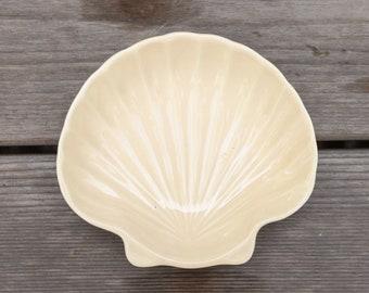 Vintage Ceramic Peach Seashell Dish