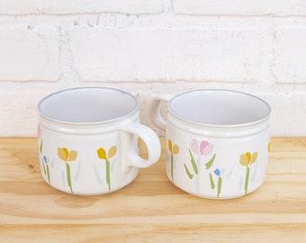 Two Vintage Pastel 80s Floral Mugs