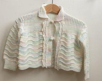 Handmade Vintage Knit Crochet Pastel Kids Baby Cardigan Sweater