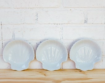 Three Vintage Seashell Snack Bowls