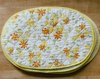 Set of 8 Vintage Yellow Floral Cloth Placemats