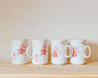 Vintage 1985 Galleria Collection Floral Cups Mugs