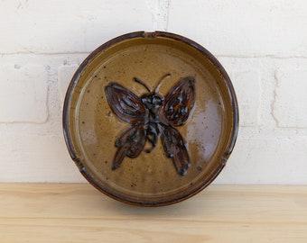 Vintage Stoneware Butterfly Ashtray
