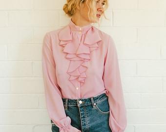 Vintage Soft Pink Edwardian Victorian Button Up Secretary Blouse