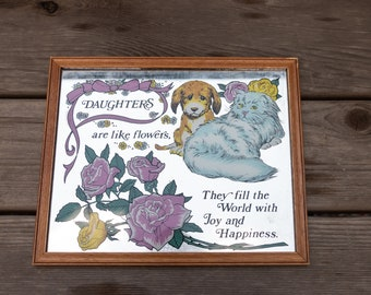 Vintage Daughters Cat and Dog Floral Message Mirror