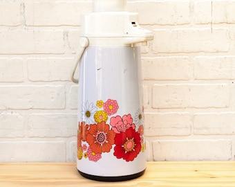 Vintage Pink and Orange Floral Airpot Vacuum Drink Dispenser