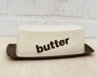 Vintage 70s Brown Plastic Butter Dish