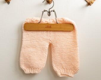 Vintage Handmade Knit Crochet Baby Peach Pink Drawstring Pants