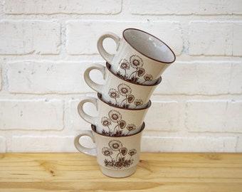 Set of 4 Vintage Brown Daisy Sketch Mugs