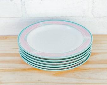 Five Vintage Pink and Teal Side Plates
