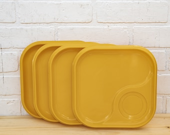 Vintage Plastic Yellow Sectional Plates
