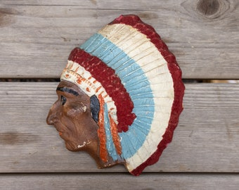 Vintage Hand Painted Native American Chief Wall Hanging