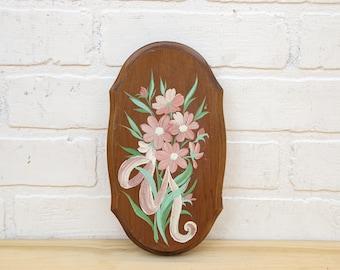 Vintage Floral Painted Wood Art Piece