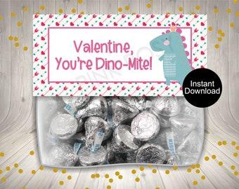 Instant Download Dinosaur Girl Bag Favors Cookie Bag Topper Valentine Treat Bag Toppers Printable Candy Treat Tags Dinosaur Bag Topper