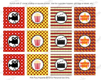 Printable Movie Night Cupcake Toppers - Instant Download