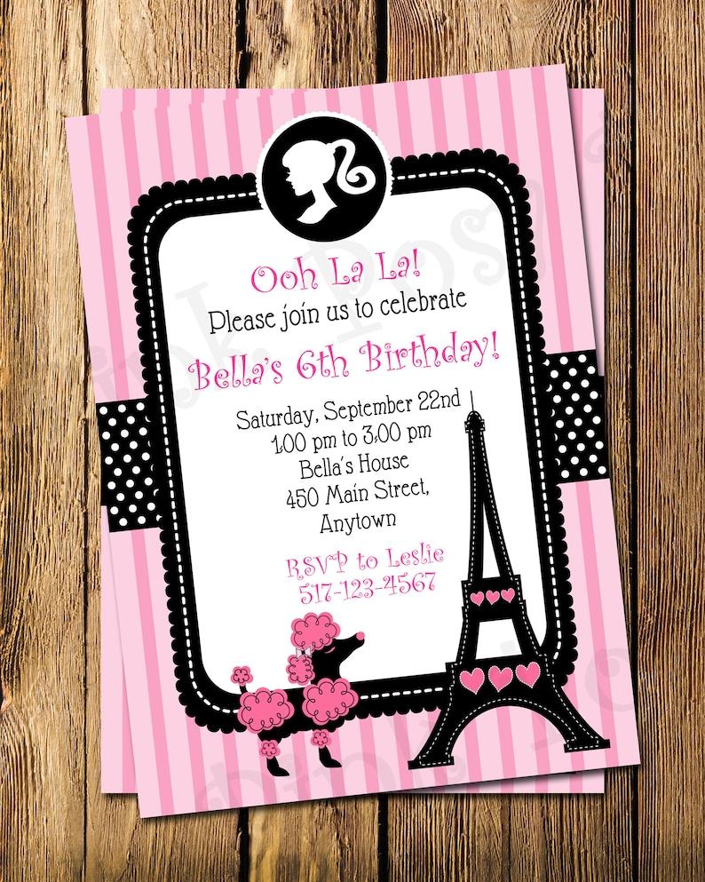Paris Birthday Invitation Printable Invitations French