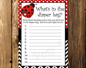 Printable Ladybug Baby Shower Diaper Bag Game - Instant Download