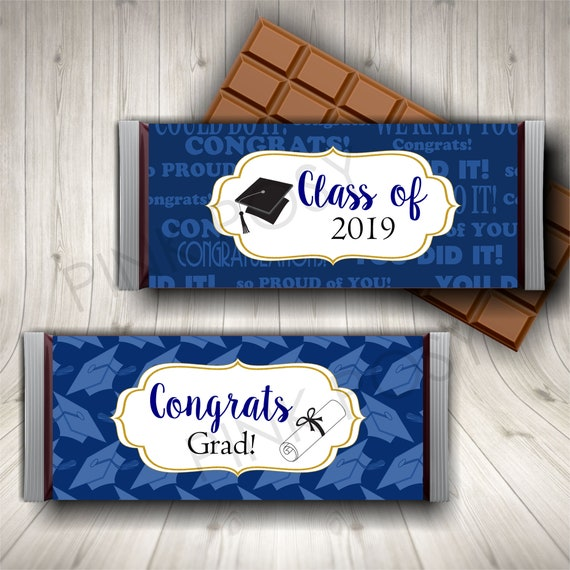 Graduation Candy Bar Wrapper Navy Blue Chocolate Wrappers Class Of 2019 Party Favors Printable Candy Labels Instant Download