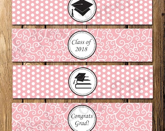 Printable Pink Graduation Water Bottle Wrappers - Instant Download