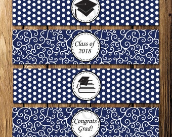 Printable Navy Graduation Water Bottle Wrappers - Instant Download