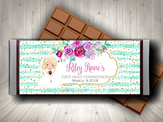 FIRST 1ST HOLY COMMUNION PARTY FAVORS CANDY BAR HERSHEY BAR WRAPPERS PINK