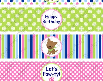 Printable Puppy Dog Girl Birthday Water Bottle Wrappers - Instant Download