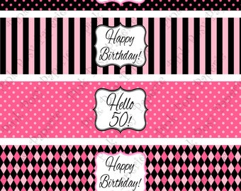 Printable 50th Birthday Pink and Black Water Bottle Wrappers - Instant Download