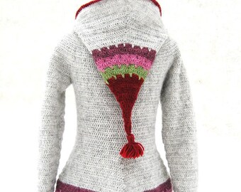 Loup hooded cardigan - Easy crochet pattern ladies sizes XS to XL -  elf hood - English, French or German