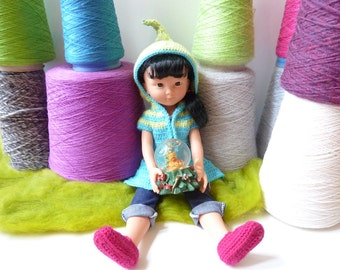 """Lutine Chéries - Crochet pattern PDF for hooded elf coat for 13"""" dolls - Chéries Corolle, H4H, Minouches..."""